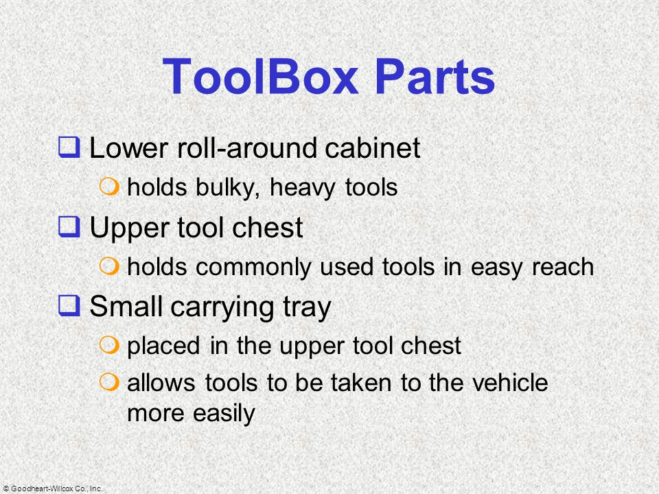 ToolBox Parts Lower roll-around cabinet Upper tool chest