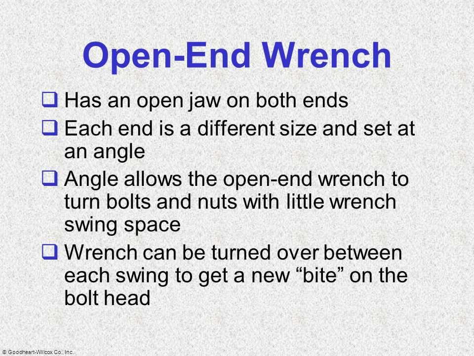 Open-End Wrench Has an open jaw on both ends