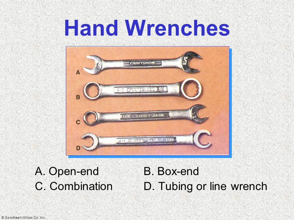 Hand Wrenches A. Open-end B. Box-end