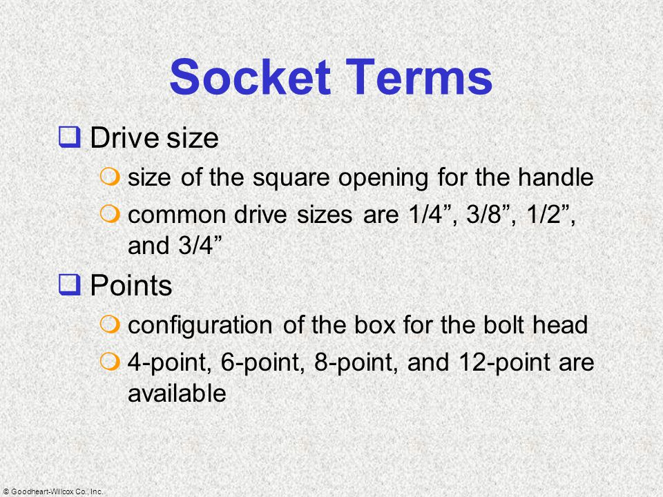 Socket Terms Drive size Points