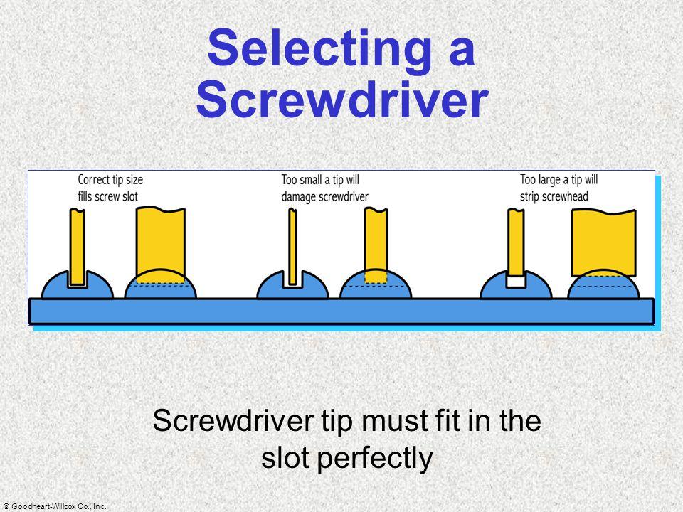 Selecting a Screwdriver