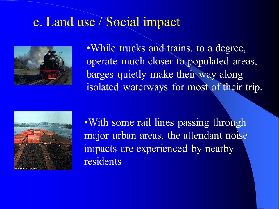 e. Land use / Social impact