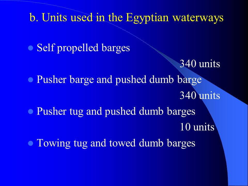 b. Units used in the Egyptian waterways