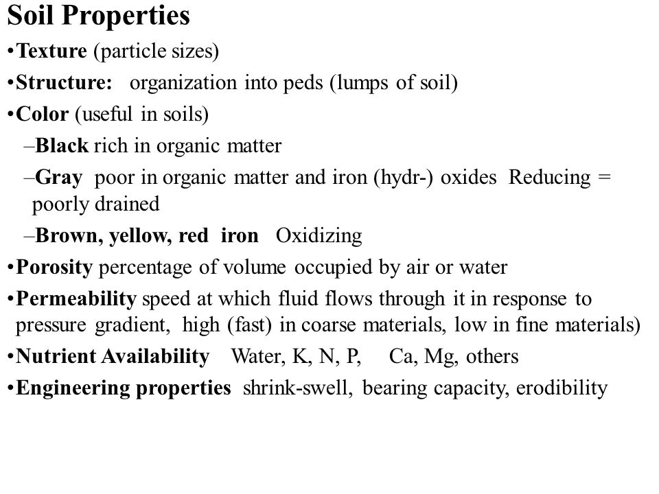 Soil Properties Texture (particle sizes)