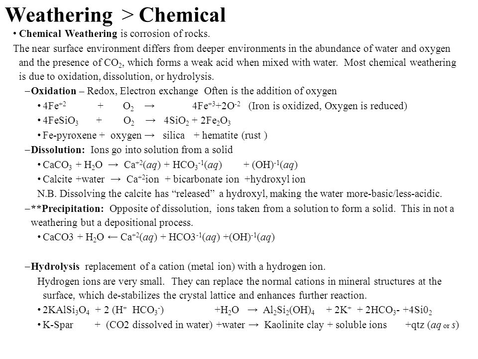 Weathering > Chemical