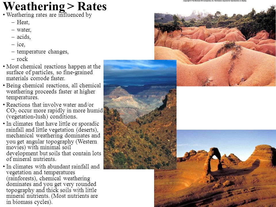 Weathering > Rates Weathering rates are influenced by Heat, water,