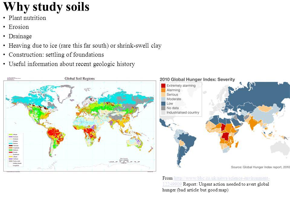 Why study soils Plant nutrition Erosion Drainage