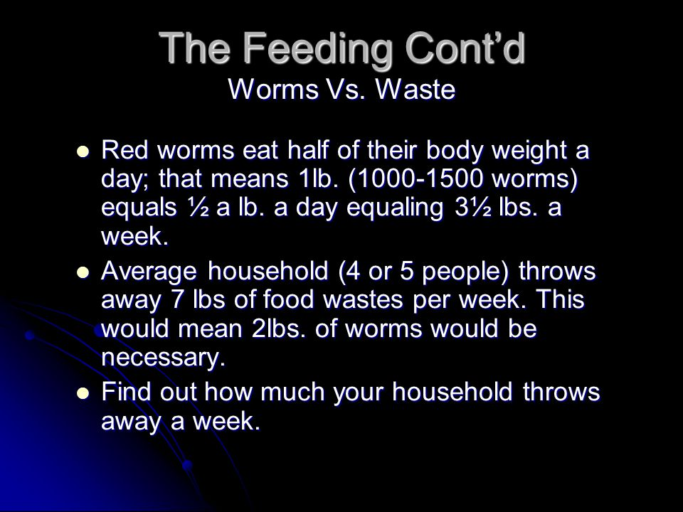 The Feeding Cont'd Worms Vs. Waste
