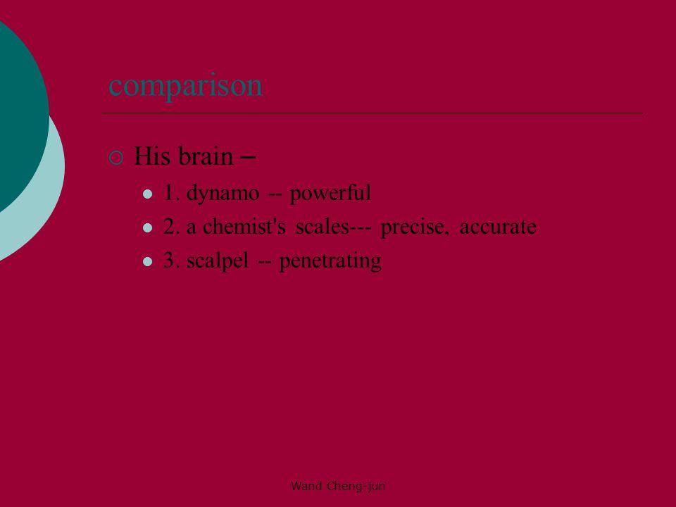 comparison His brain – 1. dynamo -- powerful