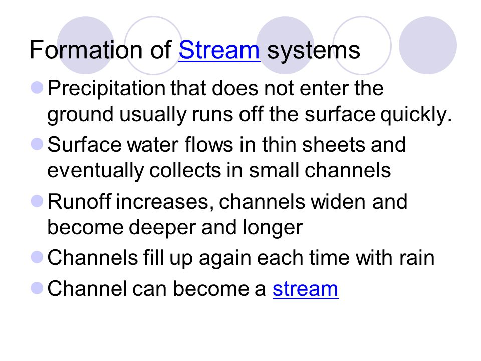 Formation of Stream systems