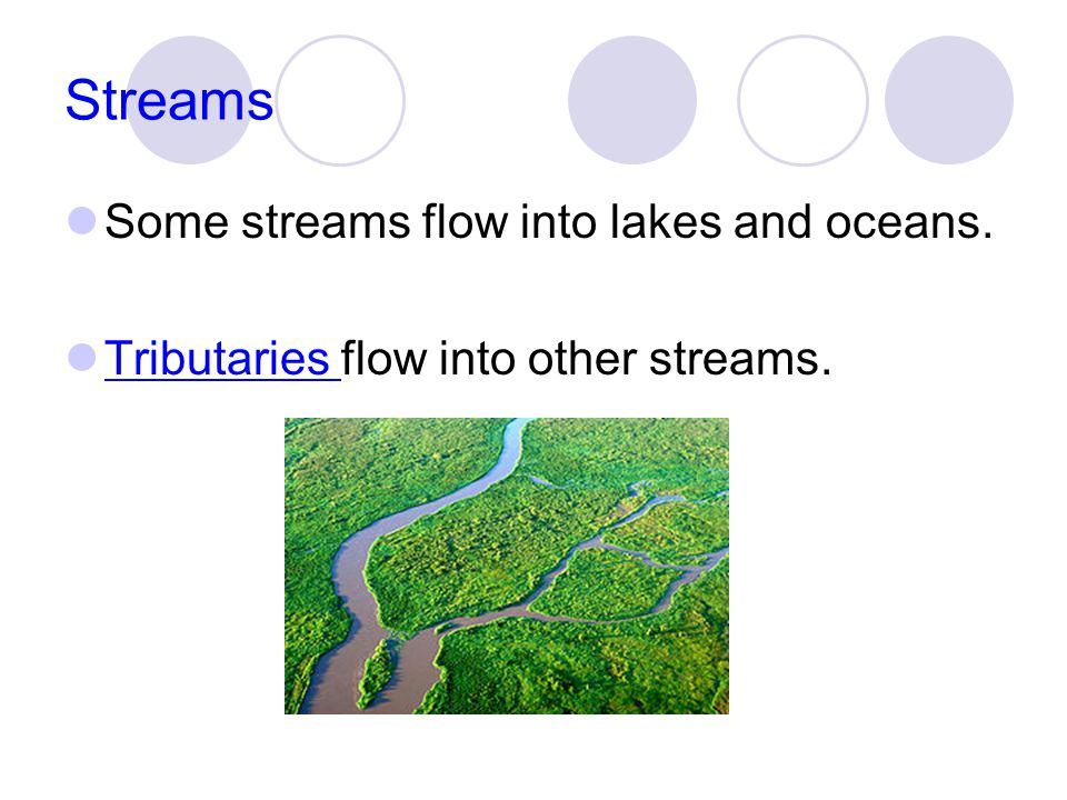 Streams Some streams flow into lakes and oceans.