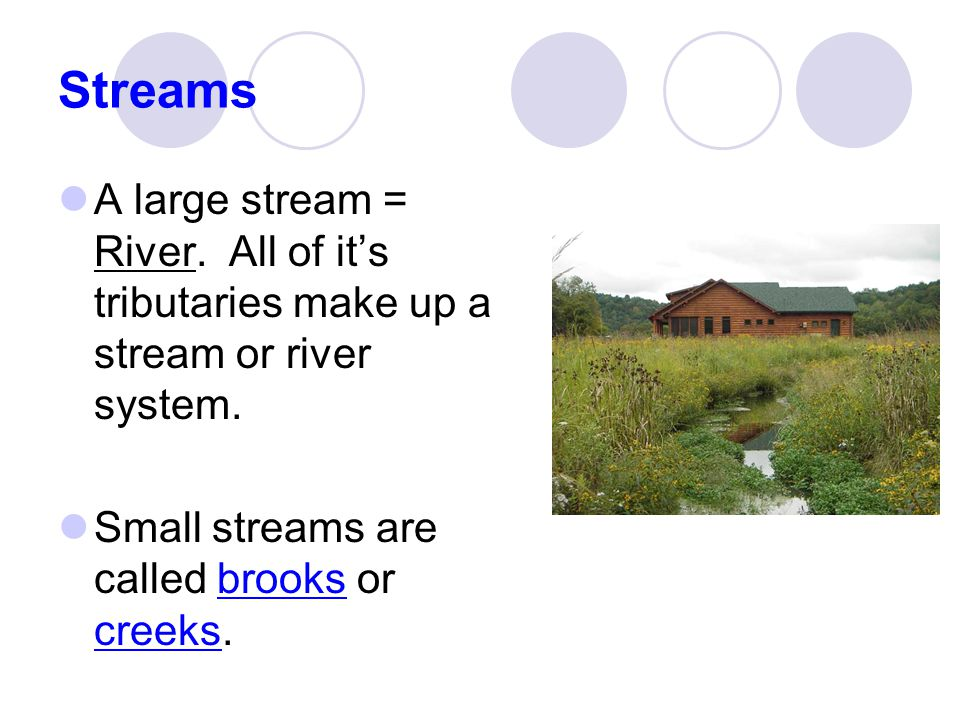 Streams A large stream = River. All of it's tributaries make up a stream or river system.