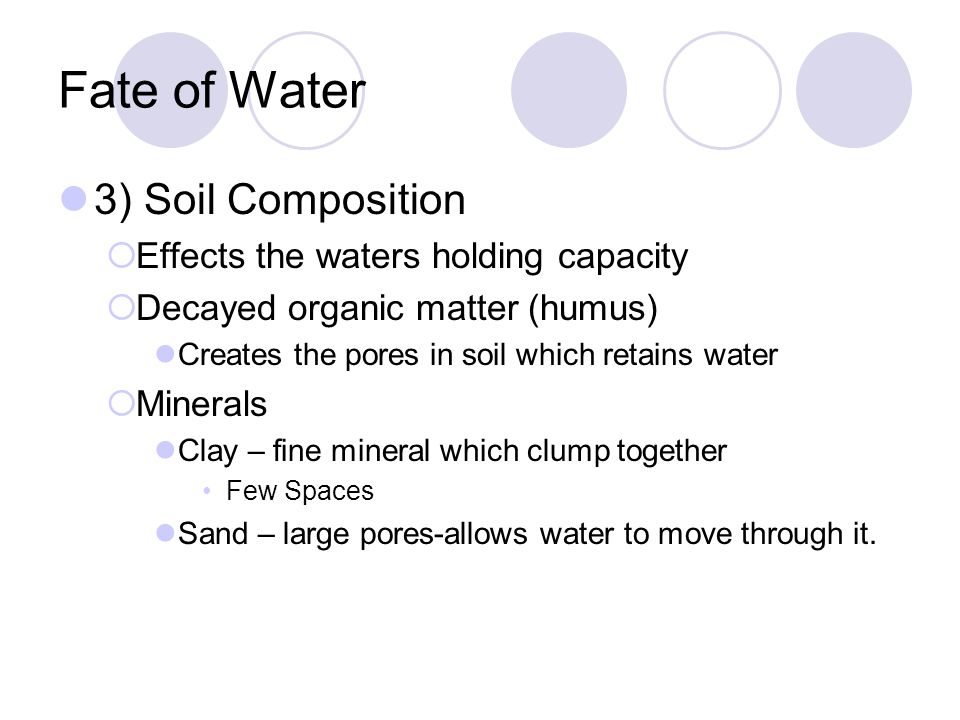 Fate of Water 3) Soil Composition Effects the waters holding capacity
