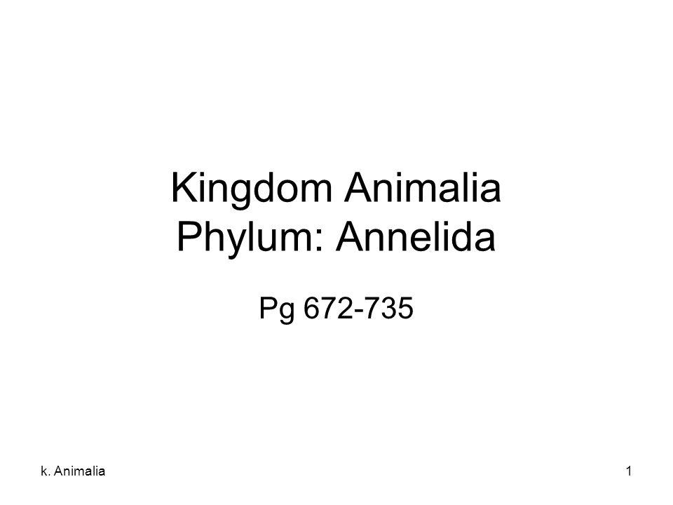 Kingdom Animalia Phylum: Annelida
