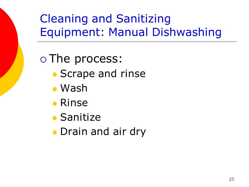 Cleaning and Sanitizing Equipment: Manual Dishwashing