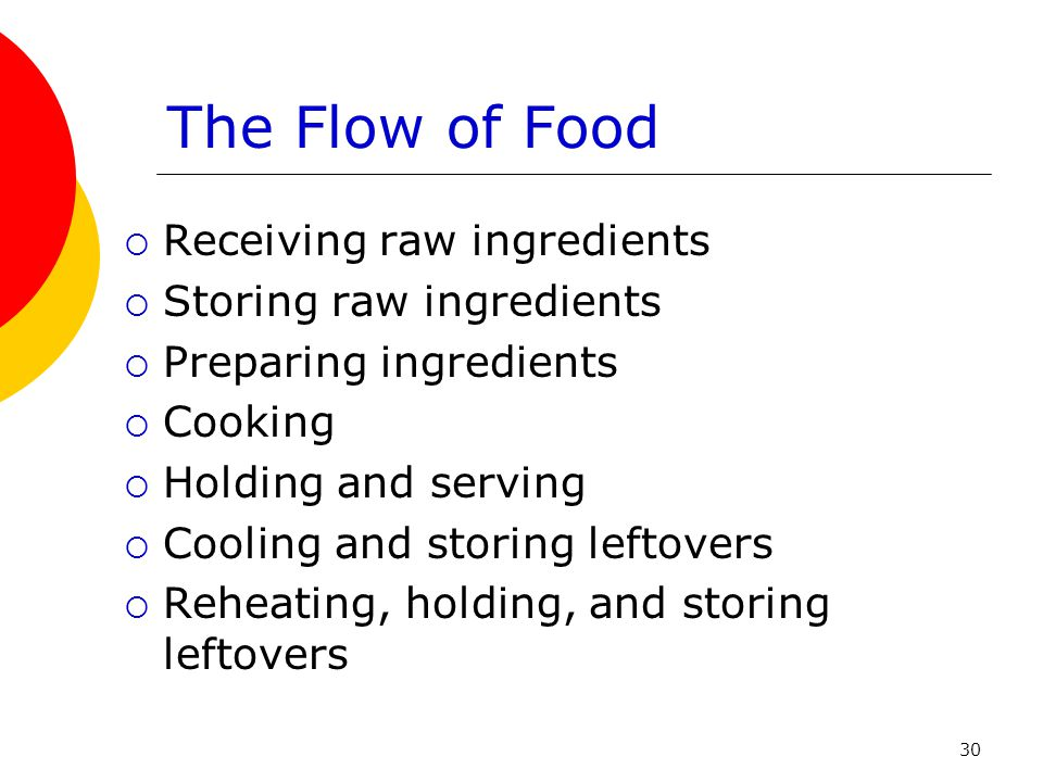 The Flow of Food Receiving raw ingredients Storing raw ingredients