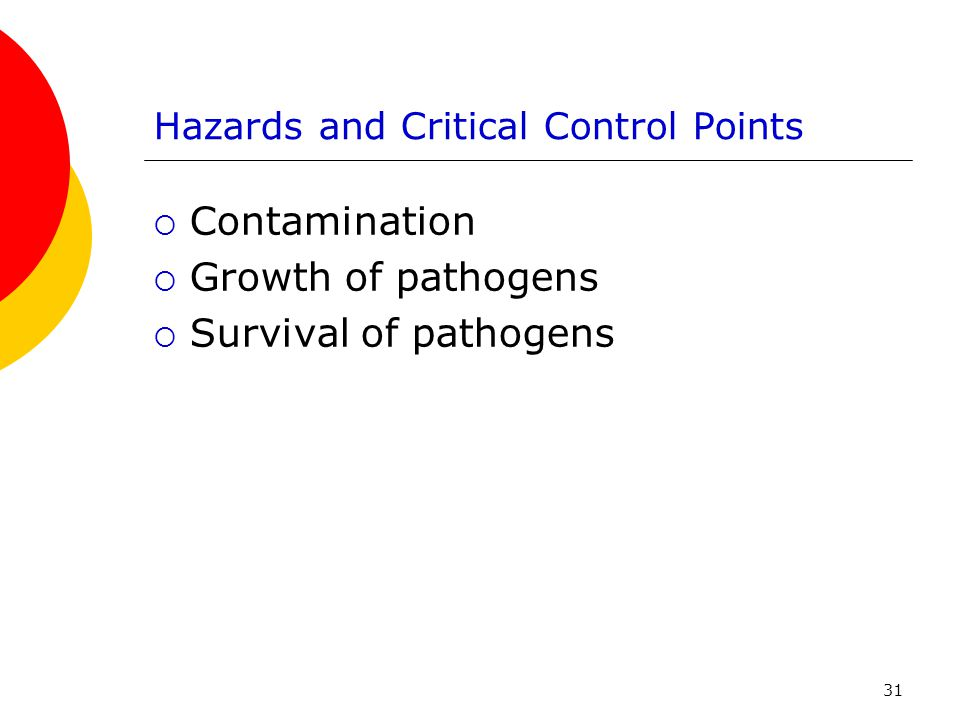Hazards and Critical Control Points