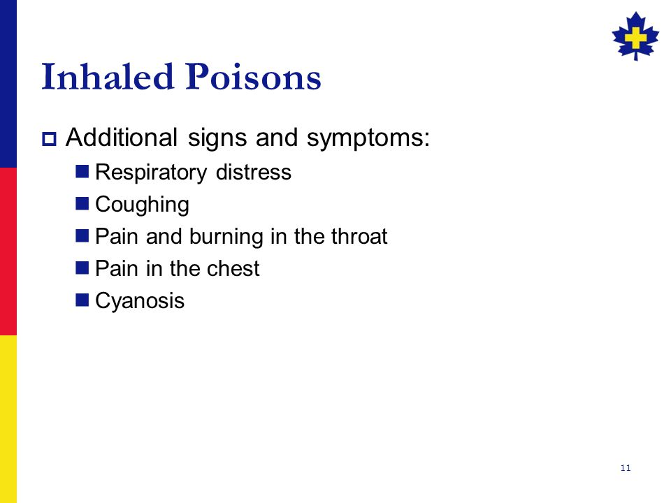 Inhaled Poisons Additional signs and symptoms: Respiratory distress