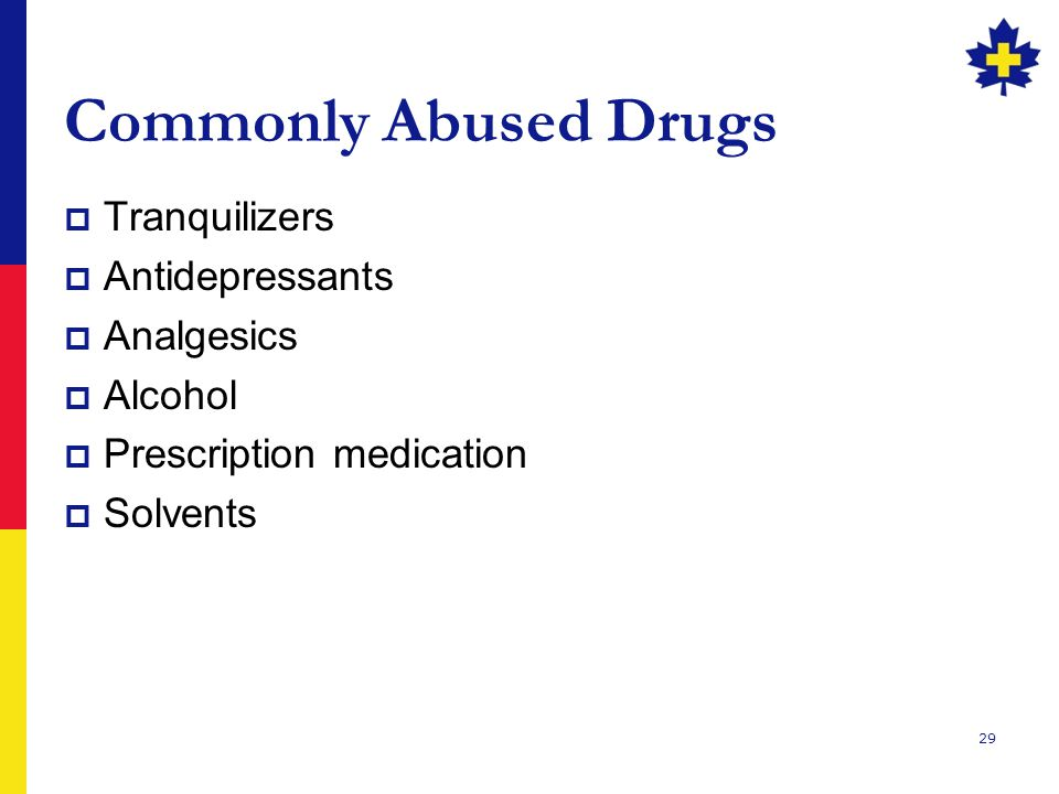 Commonly Abused Drugs Tranquilizers Antidepressants Analgesics Alcohol