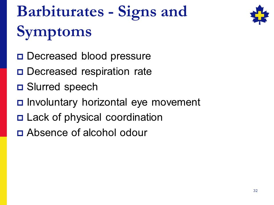 Barbiturates - Signs and Symptoms