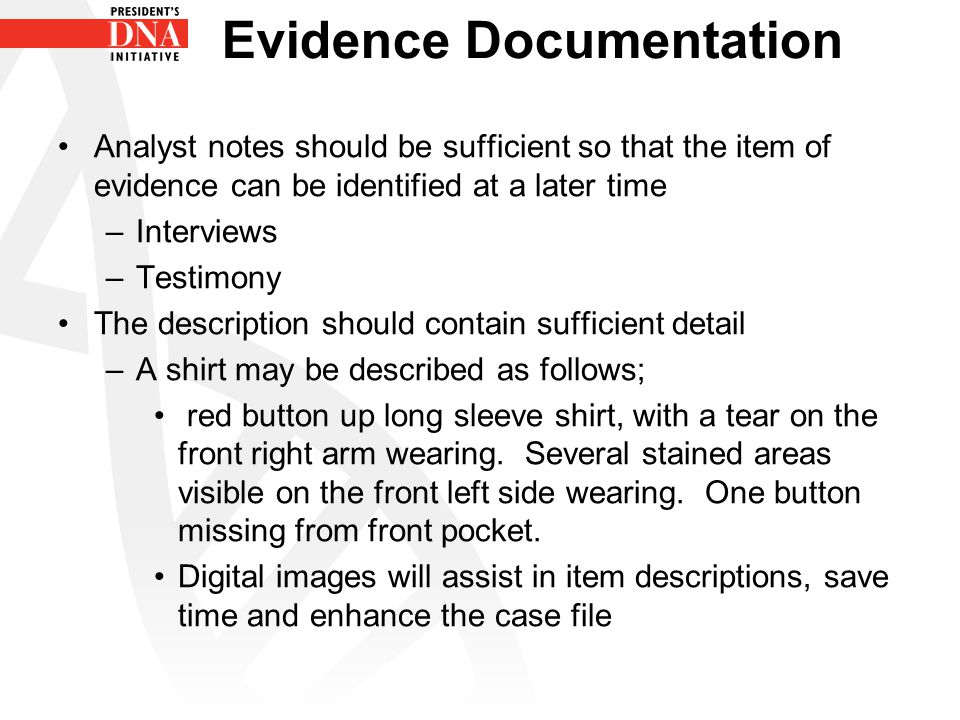 Evidence Documentation