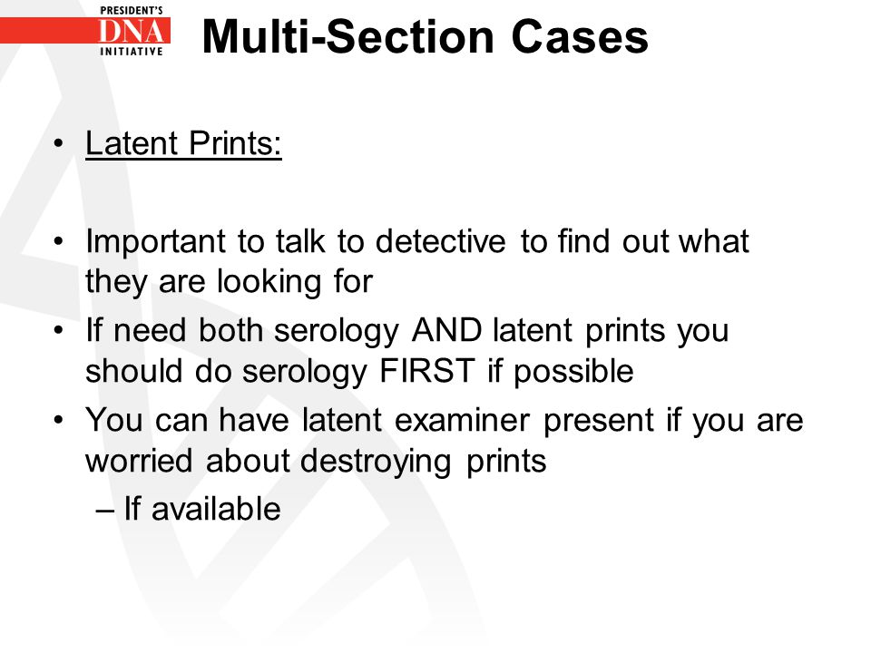Multi-Section Cases Latent Prints: