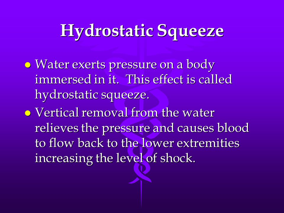 Hydrostatic Squeeze Water exerts pressure on a body immersed in it. This effect is called hydrostatic squeeze.