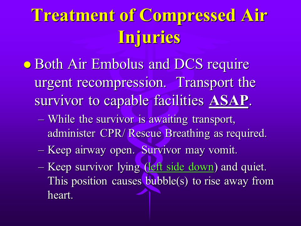 Treatment of Compressed Air Injuries