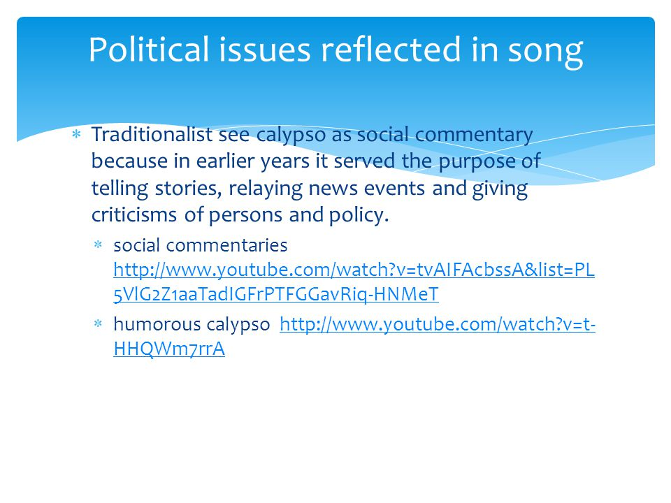 Political issues reflected in song