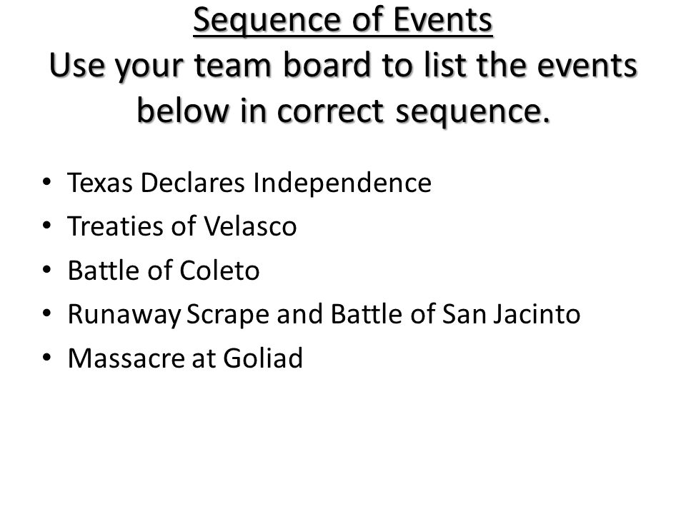 Sequence of Events Use your team board to list the events below in correct sequence.