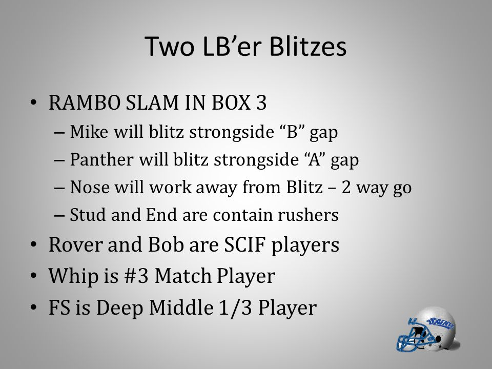 Two LB'er Blitzes RAMBO SLAM IN BOX 3 Rover and Bob are SCIF players