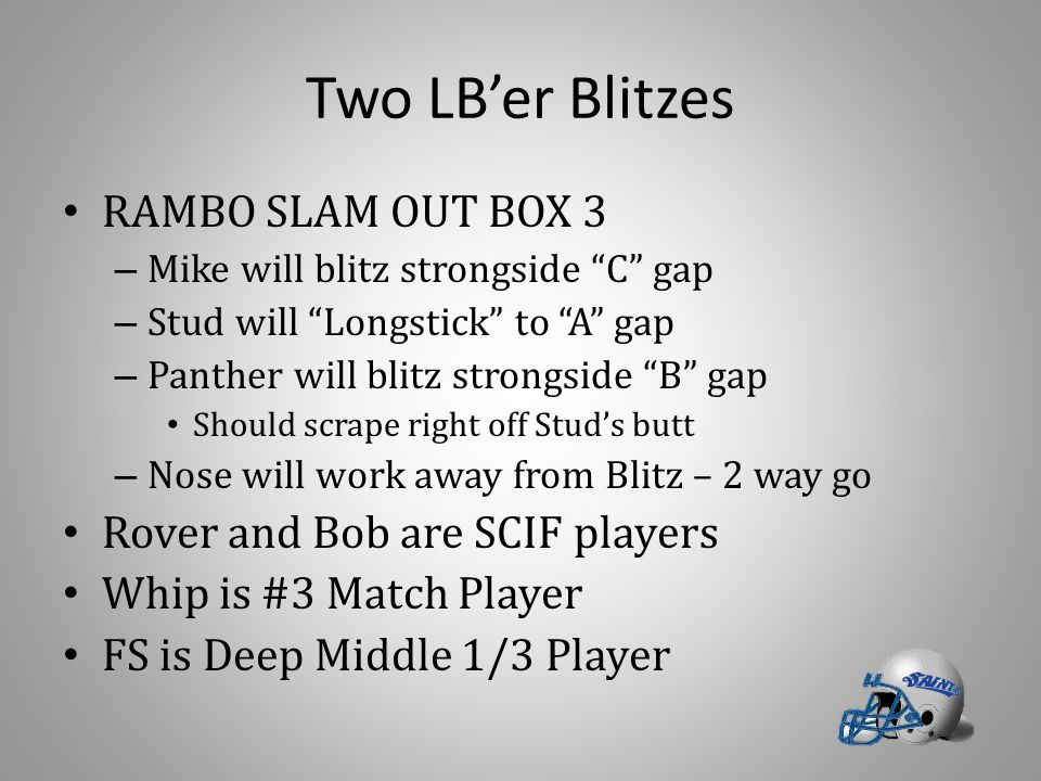 Two LB'er Blitzes RAMBO SLAM OUT BOX 3 Rover and Bob are SCIF players