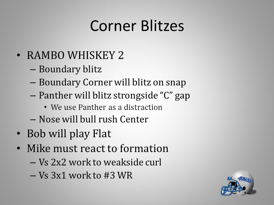 Corner Blitzes RAMBO WHISKEY 2 Bob will play Flat