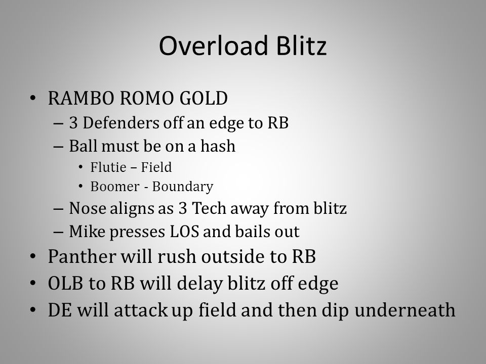 Overload Blitz RAMBO ROMO GOLD Panther will rush outside to RB
