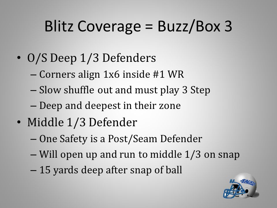 Blitz Coverage = Buzz/Box 3