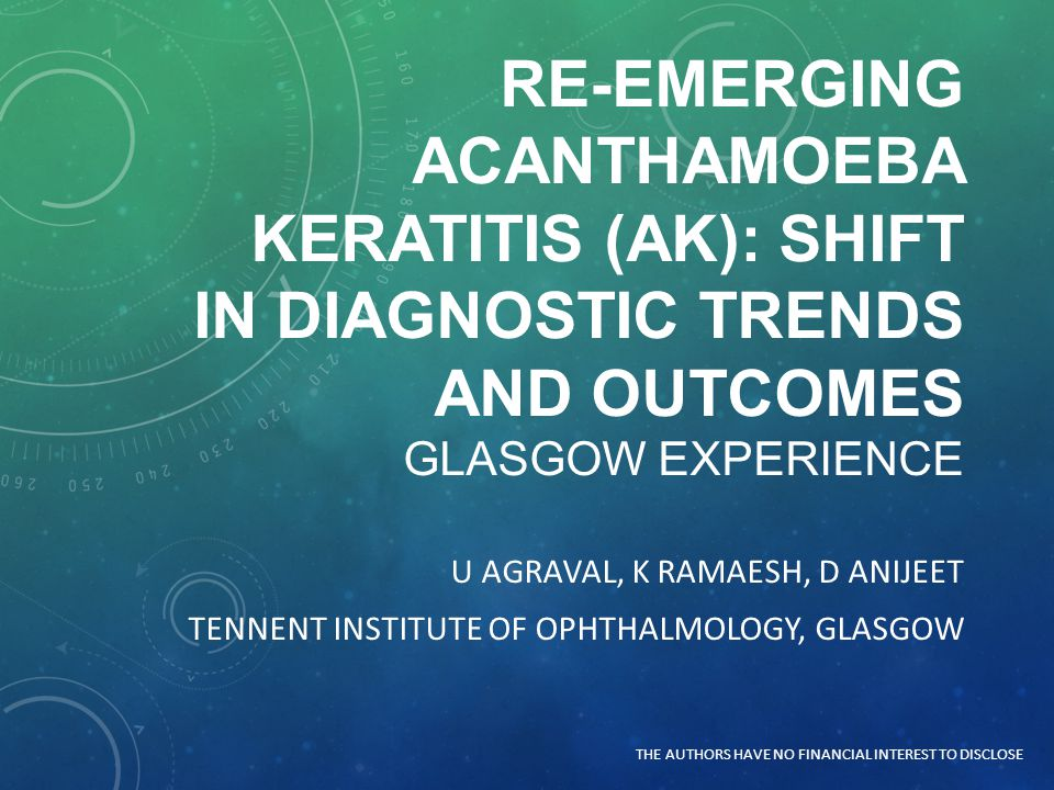 Re-emerging Acanthamoeba Keratitis (AK): Shift in diagnostic trends and outcomes Glasgow Experience