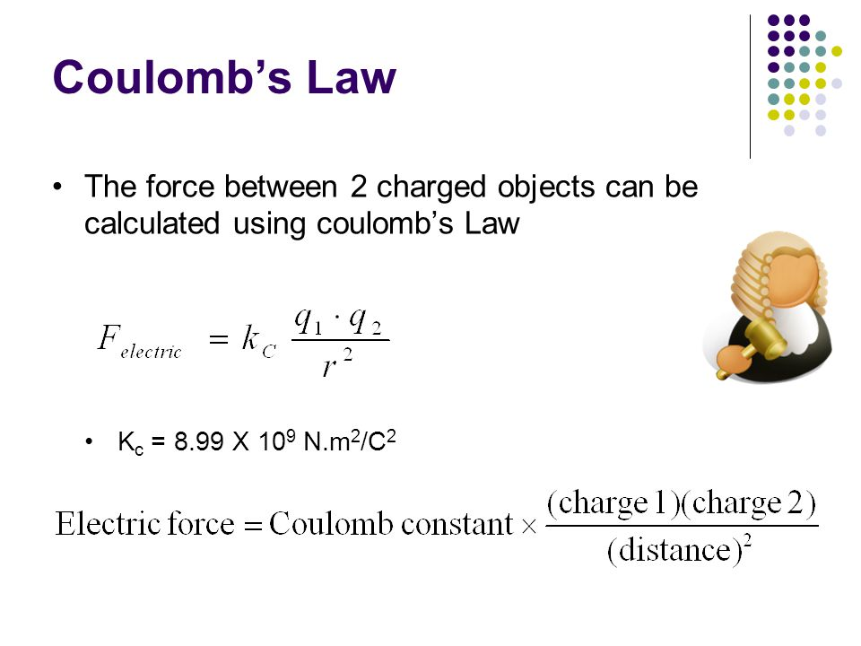 Coulomb's Law The force between 2 charged objects can be calculated using coulomb's Law.
