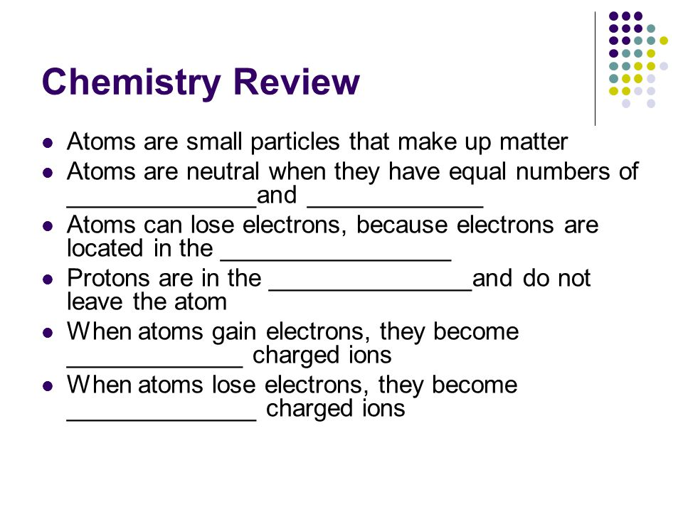 Chemistry Review Atoms are small particles that make up matter