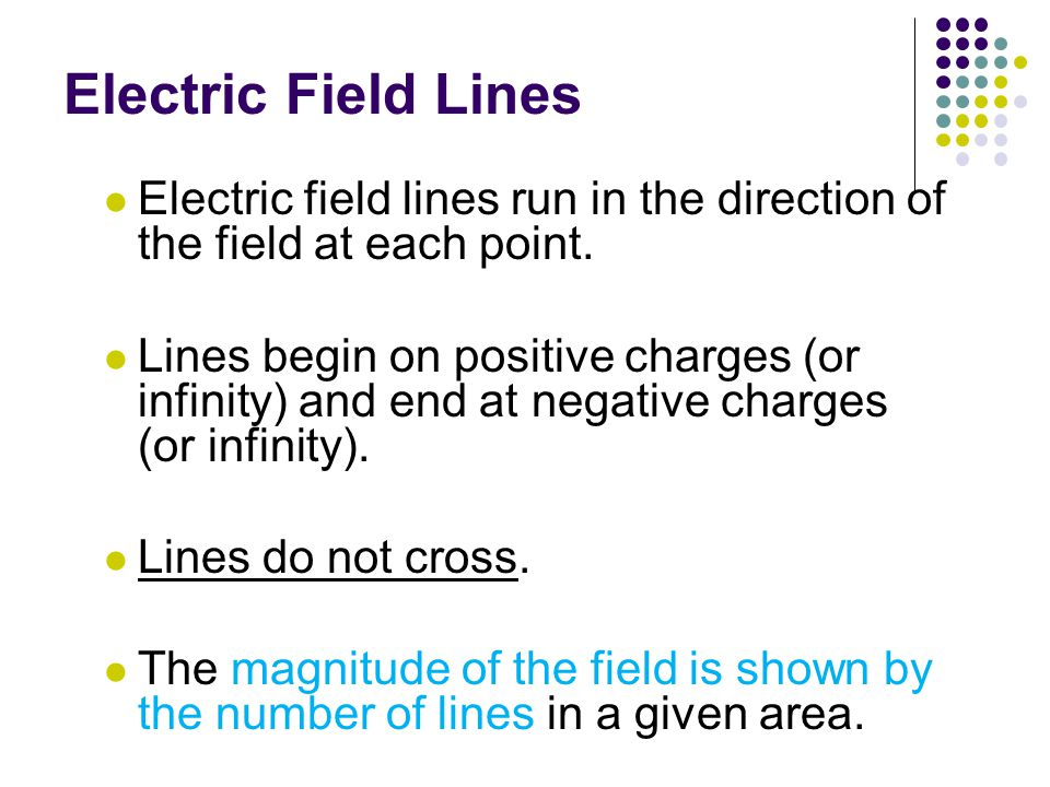 Electric Field Lines Electric field lines run in the direction of the field at each point.