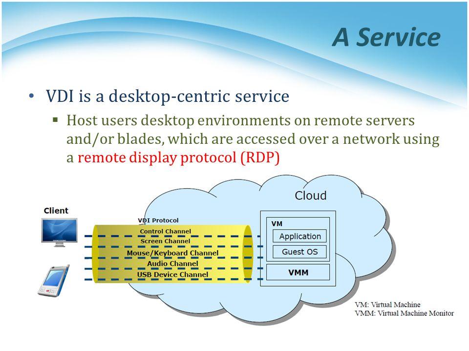 A Service VDI is a desktop-centric service