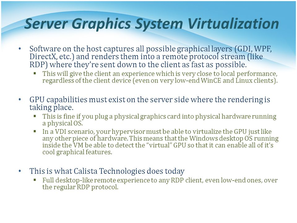 Server Graphics System Virtualization
