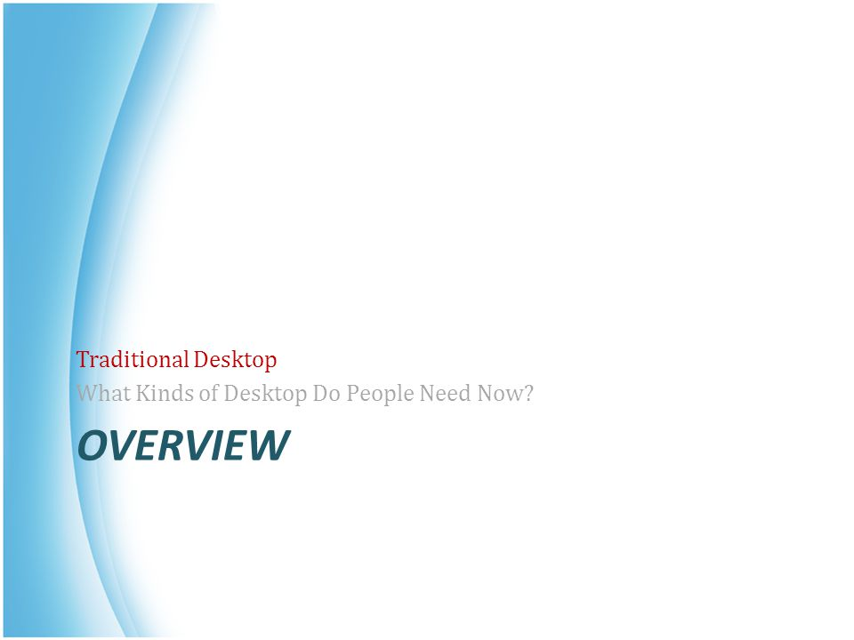 Traditional Desktop What Kinds of Desktop Do People Need Now Overview