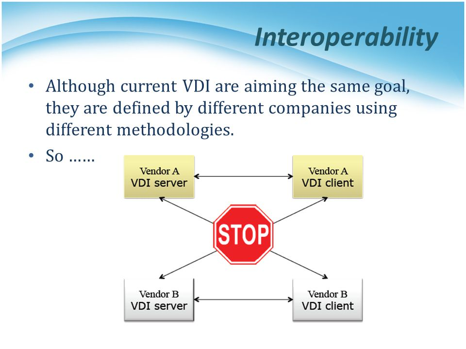 Interoperability Although current VDI are aiming the same goal, they are defined by different companies using different methodologies.
