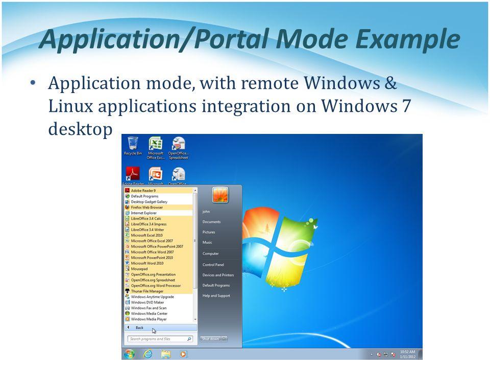 Application/Portal Mode Example