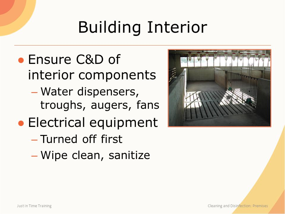 Building Interior Ensure C&D of interior components