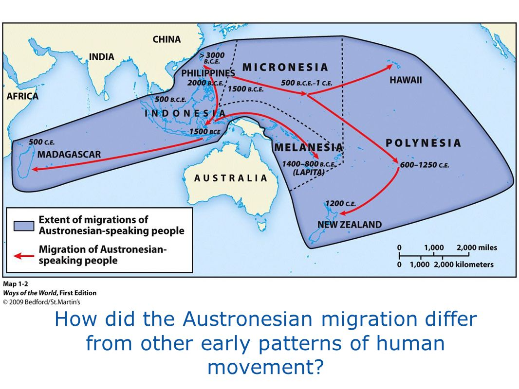 How did the Austronesian migration differ from other early patterns of human movement