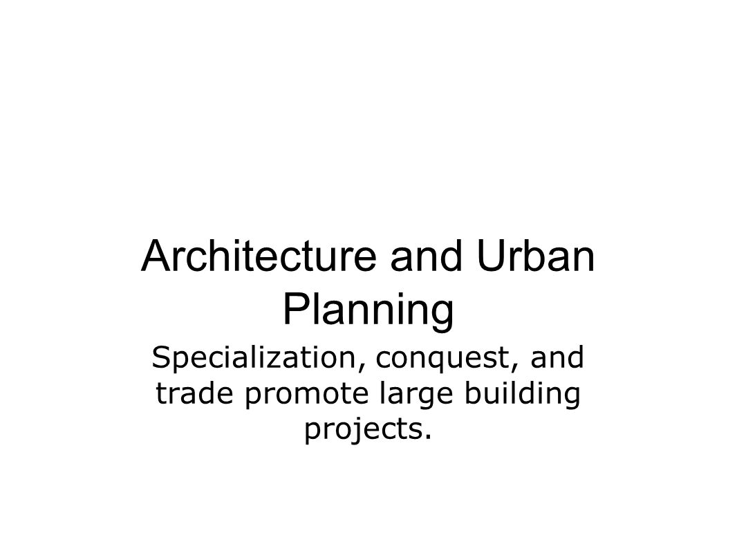 Architecture and Urban Planning