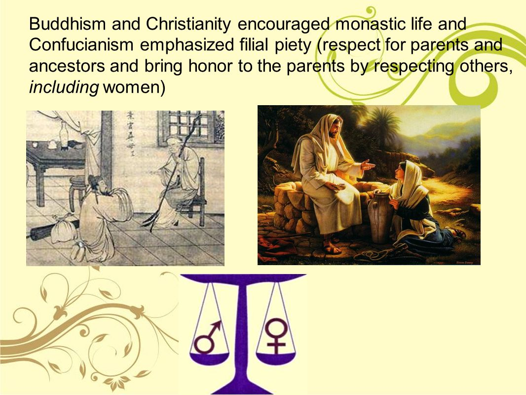 Buddhism and Christianity encouraged monastic life and Confucianism emphasized filial piety (respect for parents and ancestors and bring honor to the parents by respecting others, including women)