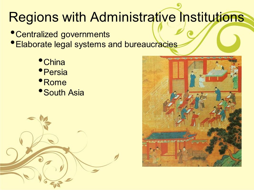 Regions with Administrative Institutions