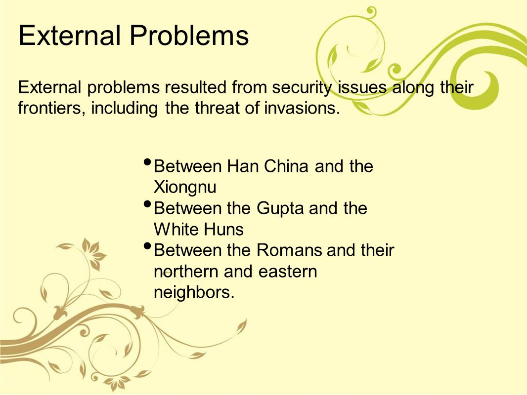 External Problems External problems resulted from security issues along their frontiers, including the threat of invasions.